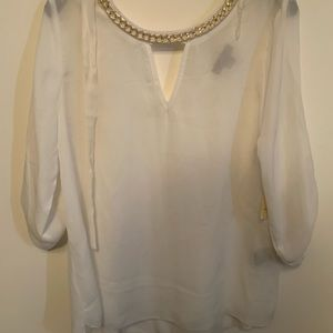 White dressy blouse with gold necklace detail XL
